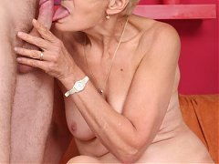 Lustful grandma Irine hooks up with a young fuckbuddy and takes in his dong in her mouth and pussy
