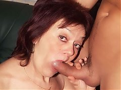 Older gal Paula takes home a fuck buddy and gets her pussy fucked hard after sucking a cock live